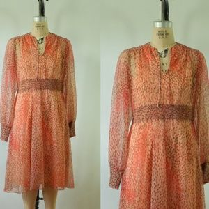 vintage floral chiffon dress | vintage 1970s dress